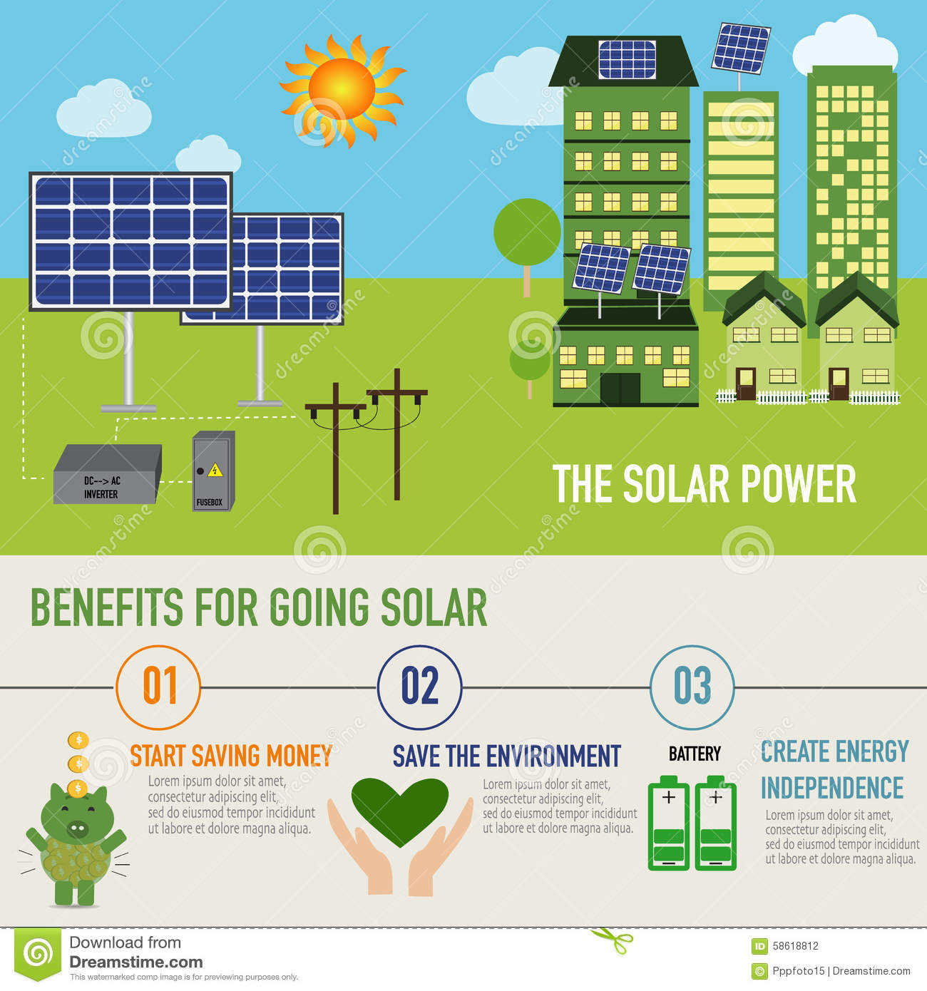 Solar power benefit infographic vector stock vector for Uses of solar energy for kids