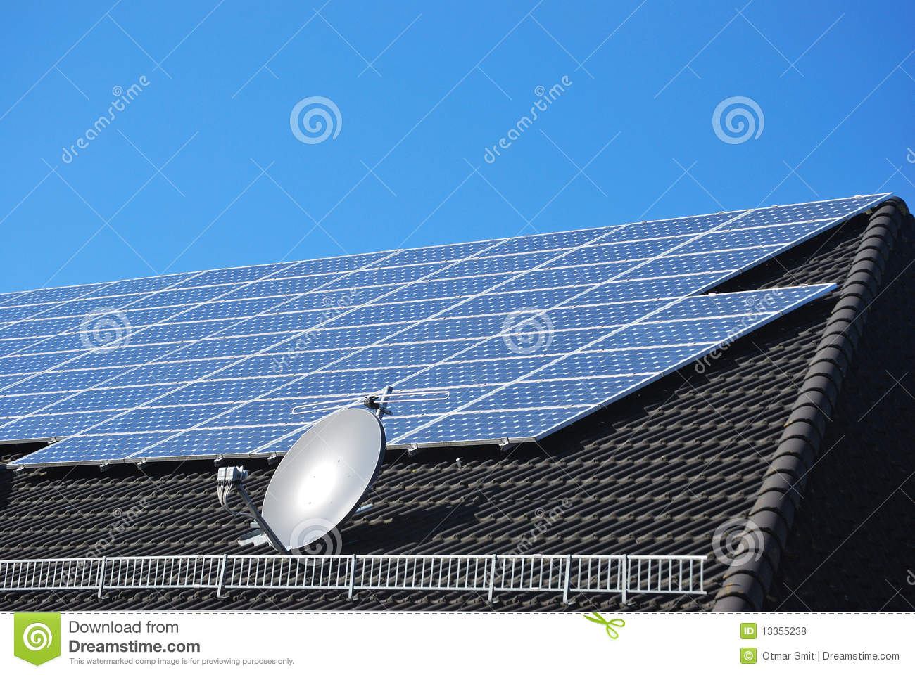 Solar power cells on a black roof