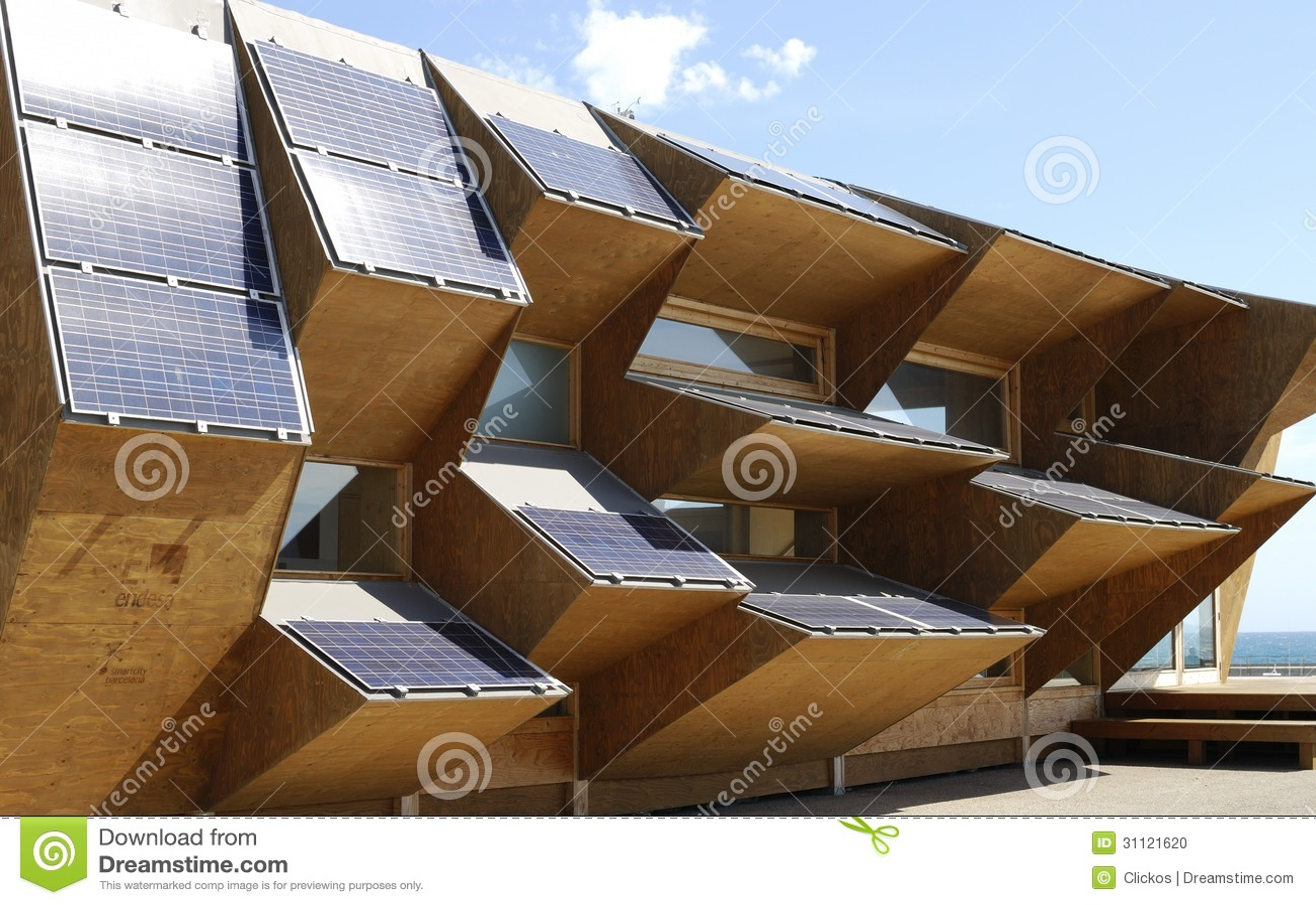 Solar power display building at barcelona beach spain editorial image image 31121620 - Solar barcelona ...