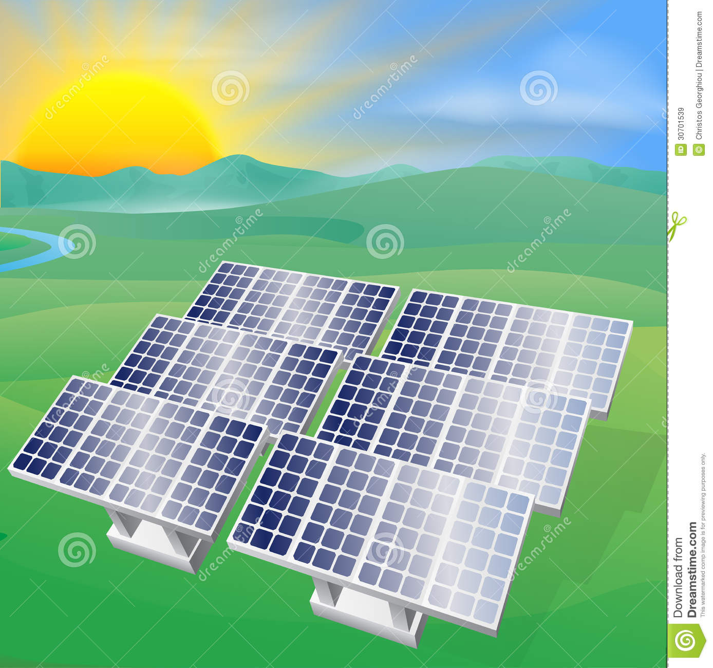 Illustration of a solar panel photovoltaic cells generating power and ...