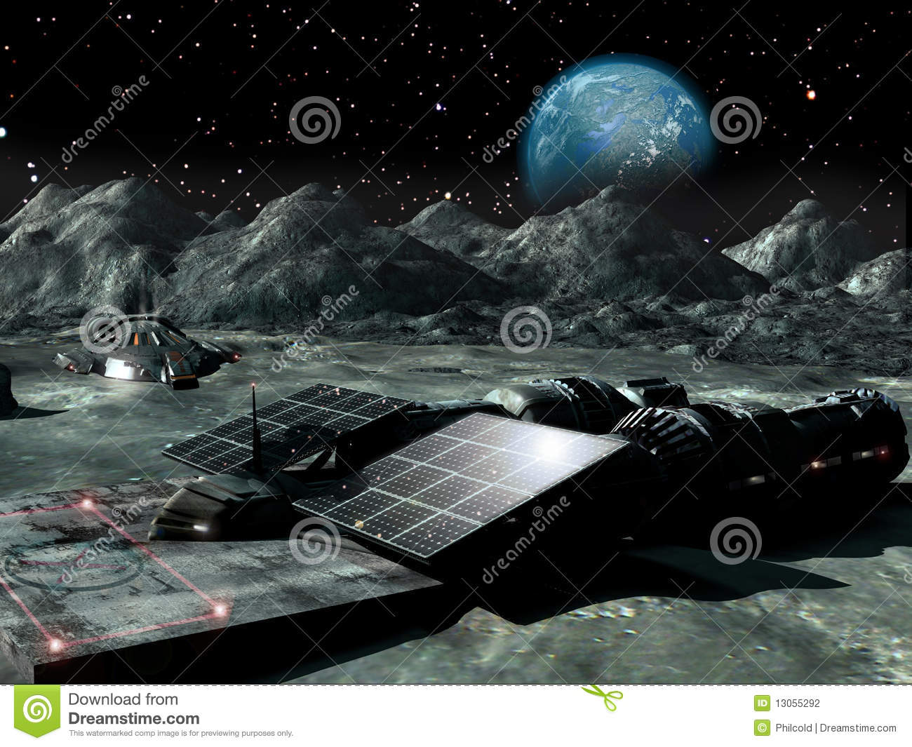 Solar Power On The Moon Stock Photography Image 13055292