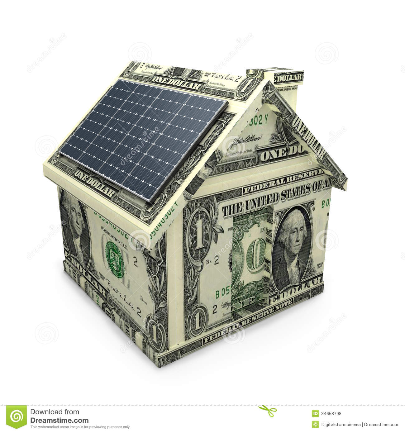 Solar Panel Yearly Savings: Solar Power Panels On A Dollar House. Stock Illustration