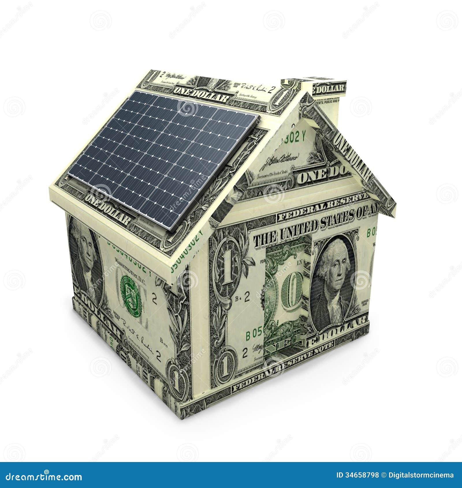 Solar Power Panels On A Dollar House. Royalty Free Stock Photos ...