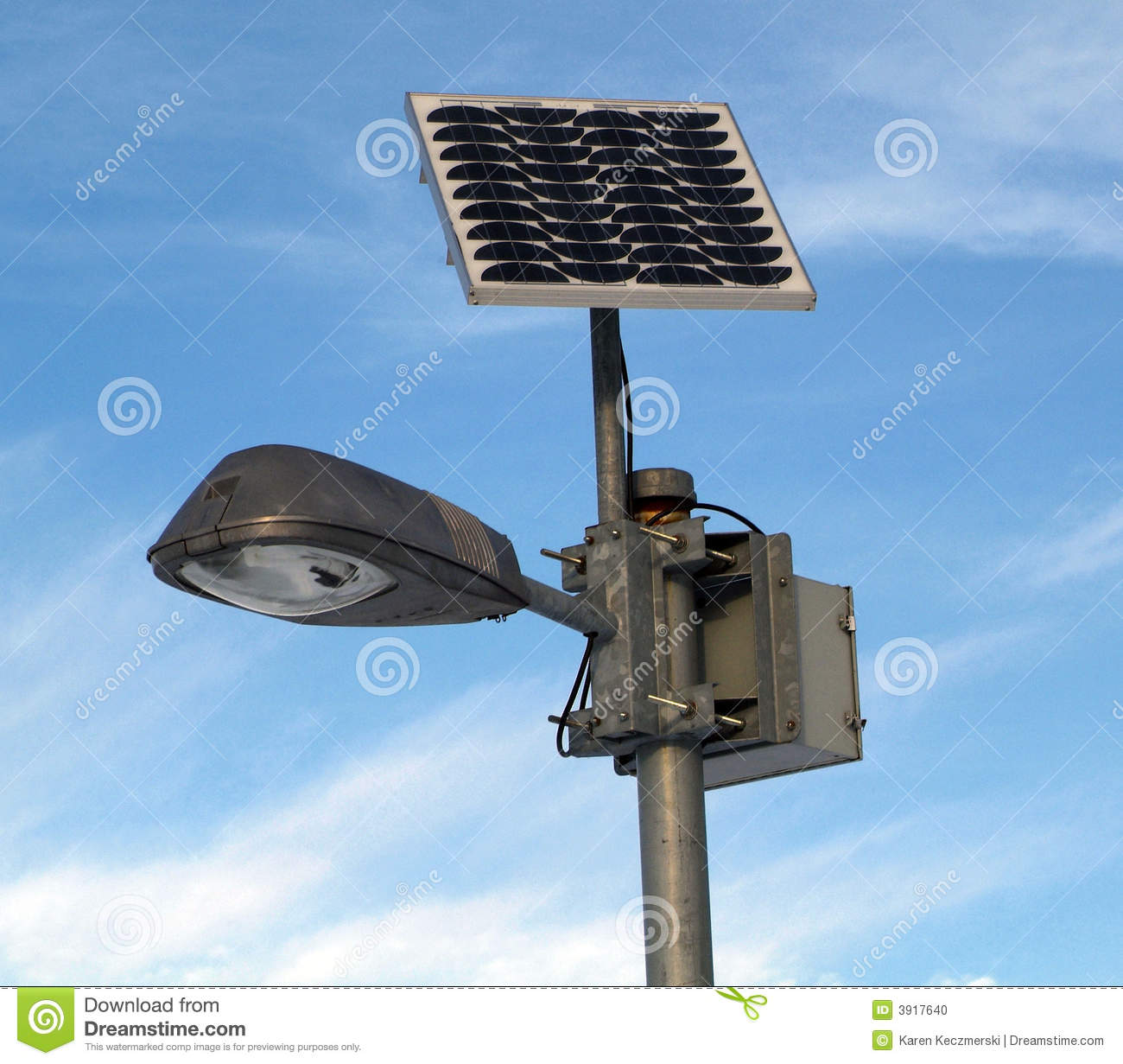 Solar Powered Lamp Post Stock Photo Image 3917640