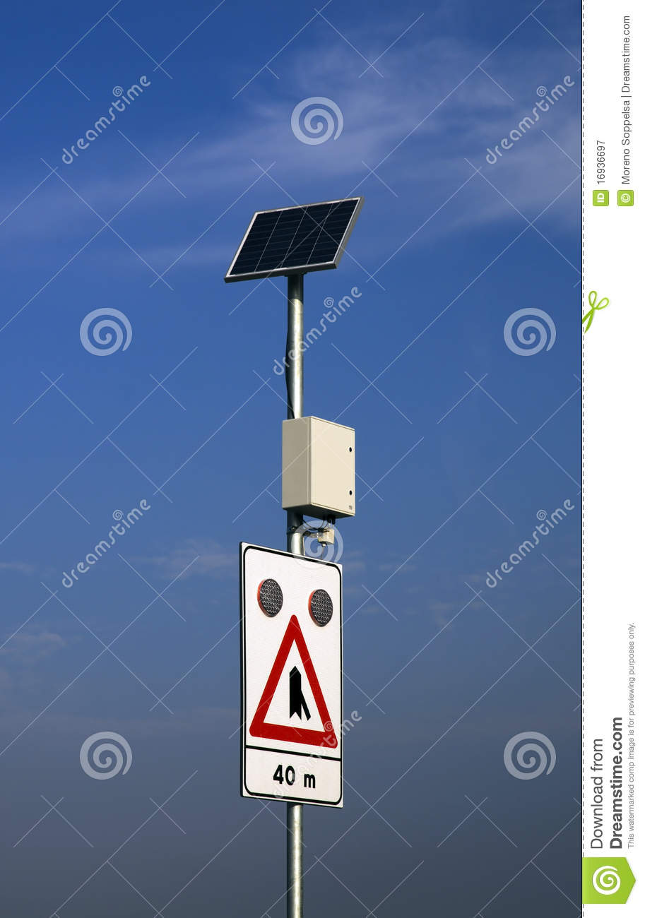Solar Powered Road Sign Royalty Free Stock Photography