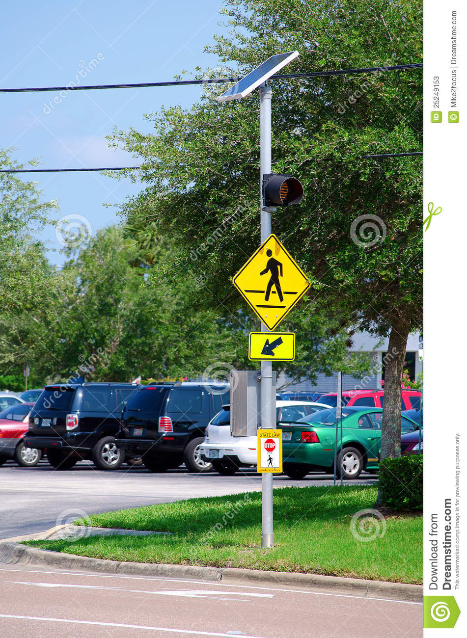 Solar Powered Street Crosswalk Sign Stock Image Image Of