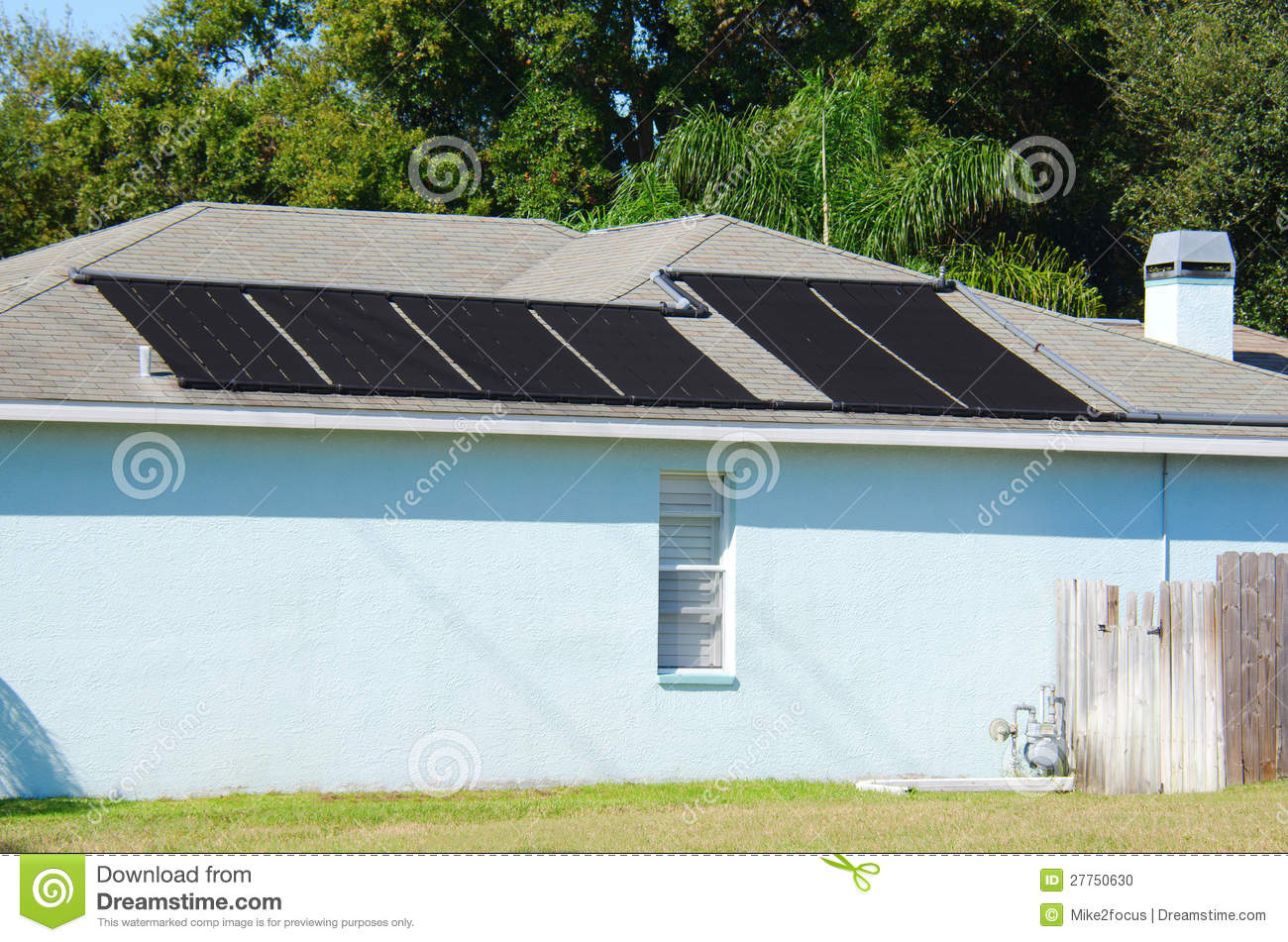 Solar powered water heating system on a house