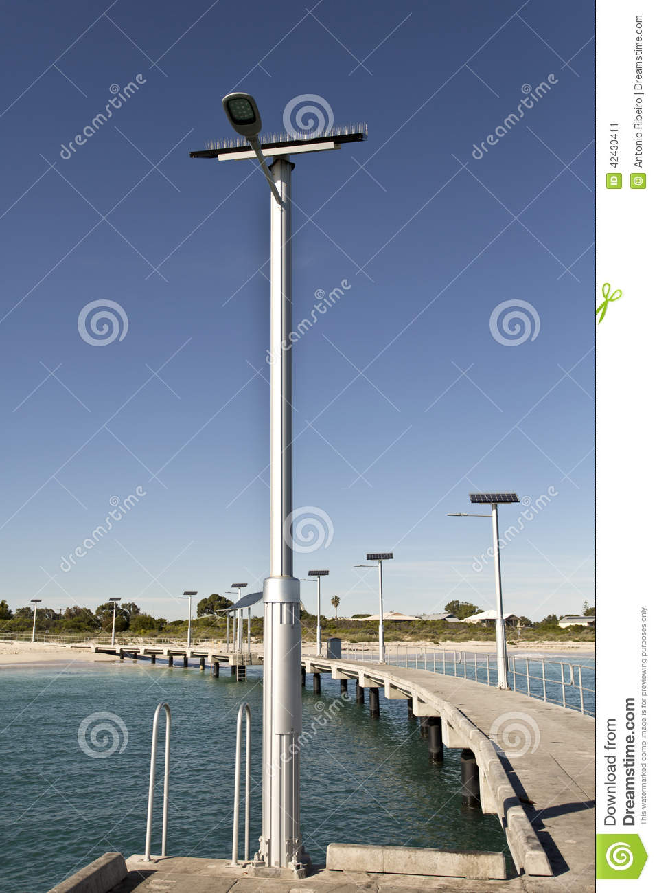 Solar Street Lamppost stock image  Image of light, town