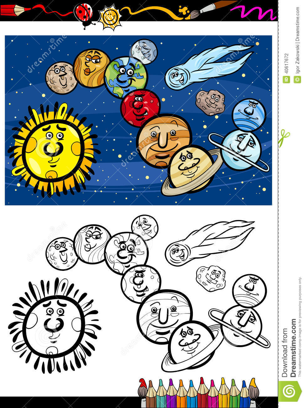 Coloring pages solar system letters - Solar System Cartoon Coloring Book