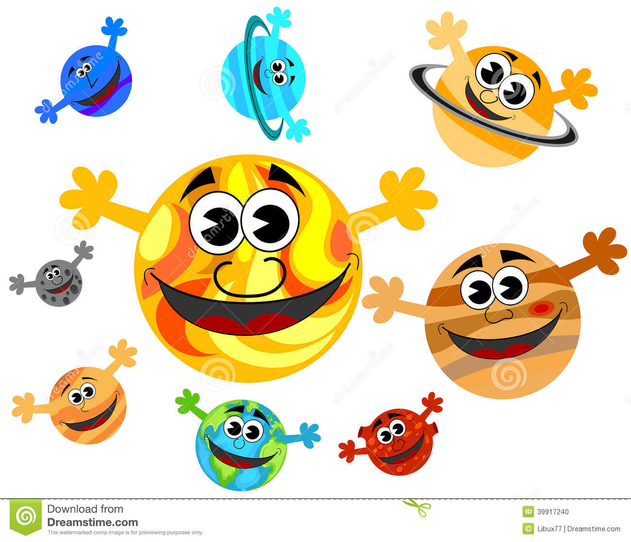 Solar System Cartoon Planets Smiling Stock Vector - Image ...