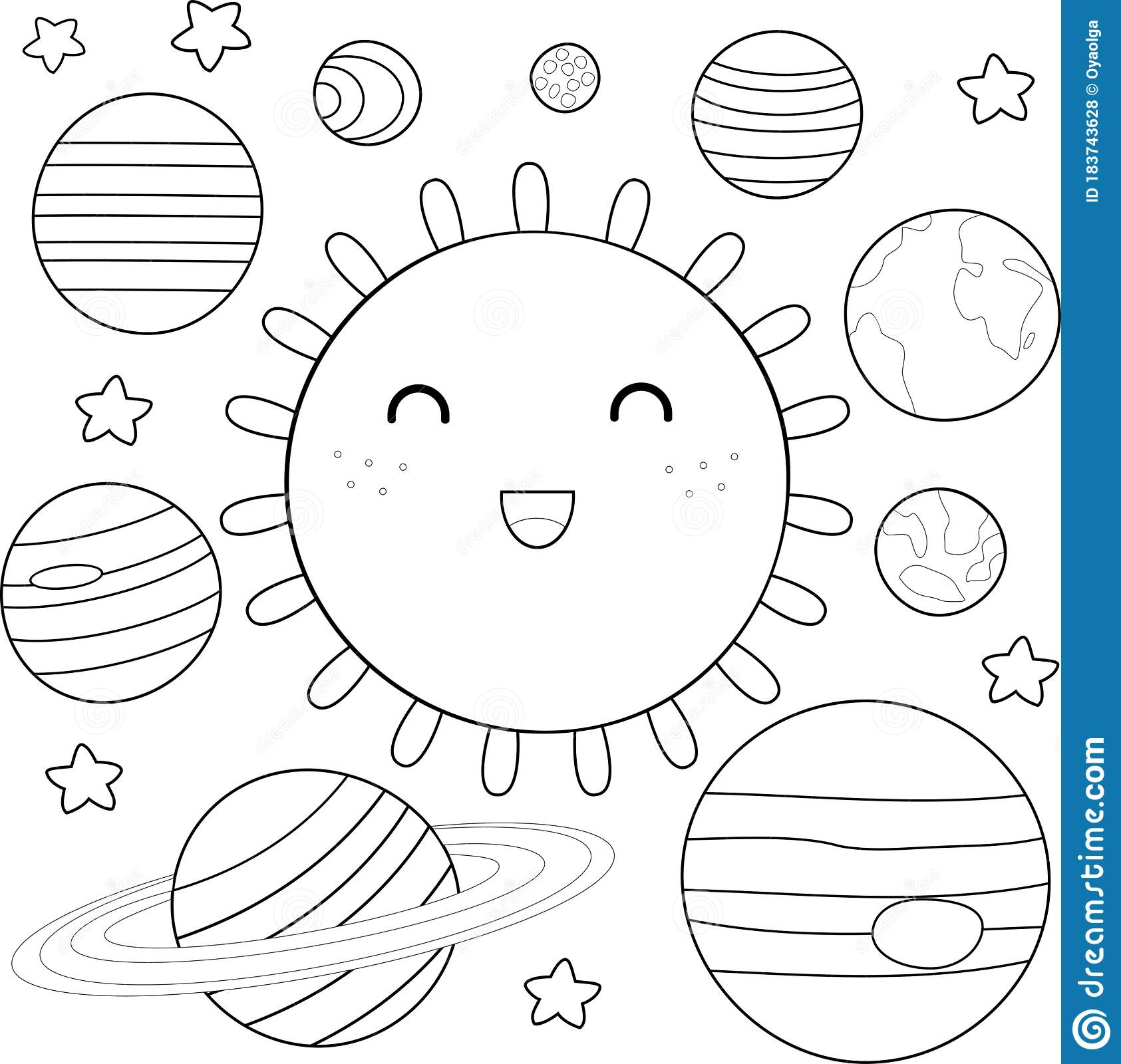 Coloring Page Of Solar System Stock Vector Illustration Of Baby Mars 183743628