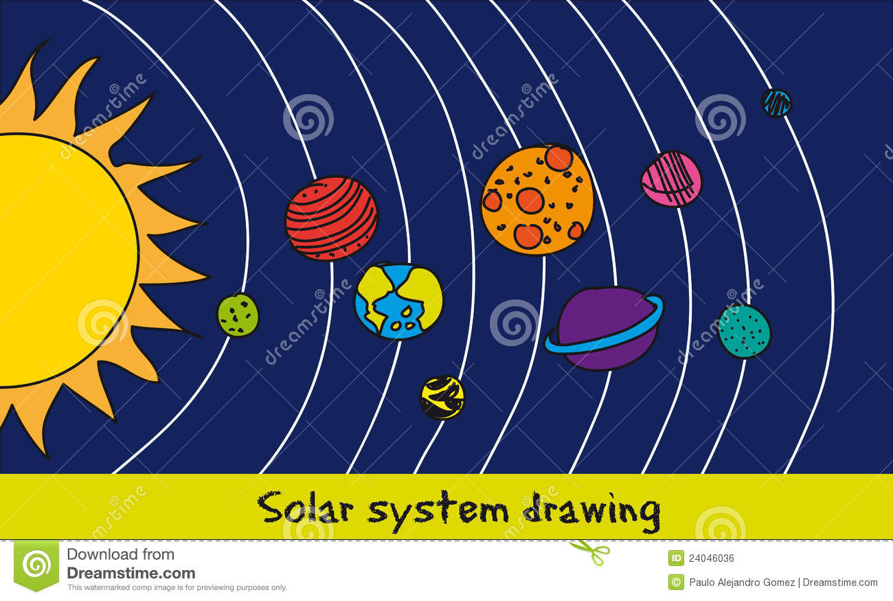 Solar System Drawing Royalty Free Stock Image - Image: 24046036