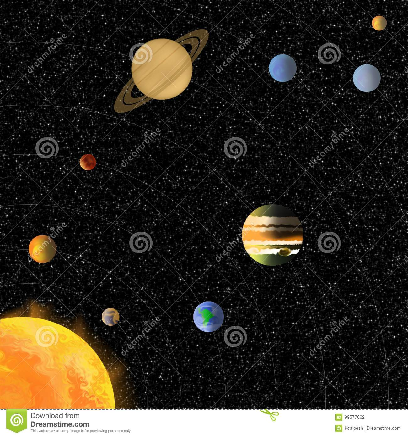 solar system without names of planets stock illustration