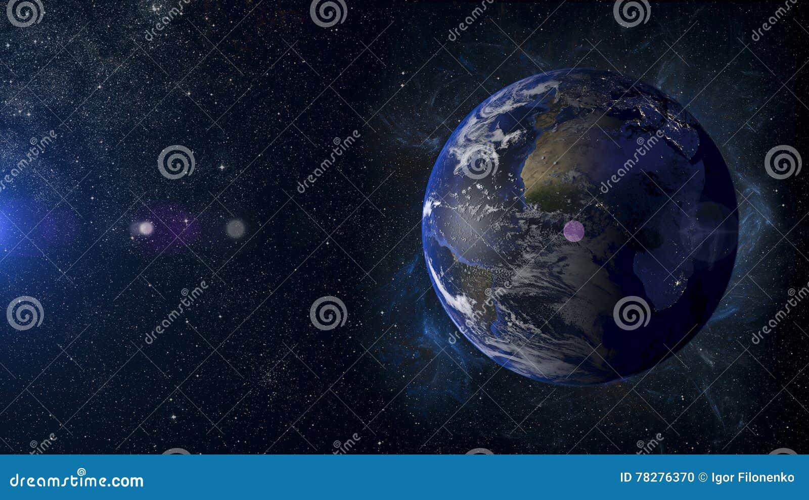 Solar System Planet Earth On Nebula Background 3d ...