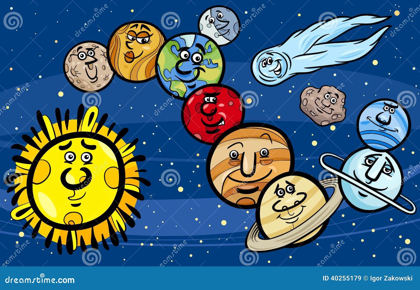 Solar System Planets Cartoon Illustration Stock Vector ...