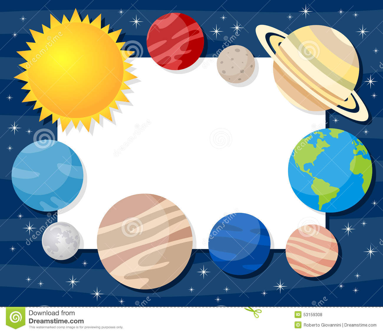 Solar system planets horizontal frame stock vector image for Outer space design