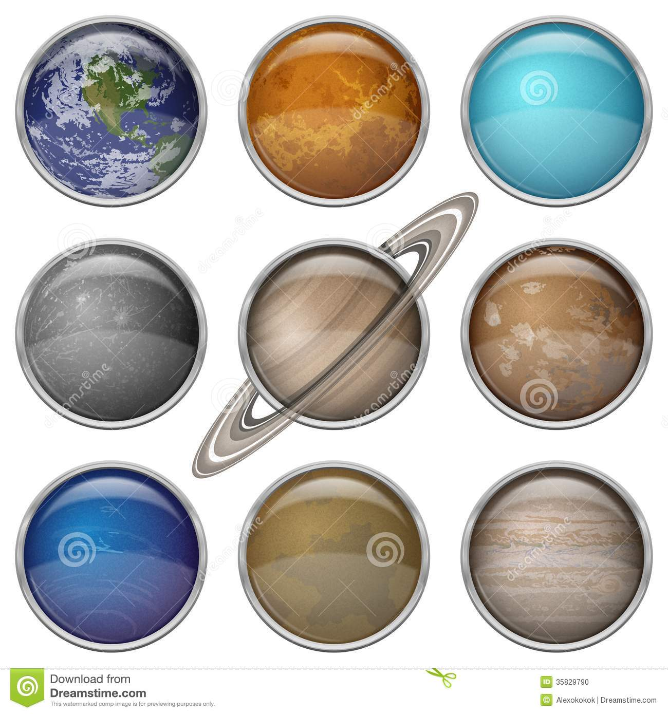 Solar System Planets Set Buttons Stock Photo Image