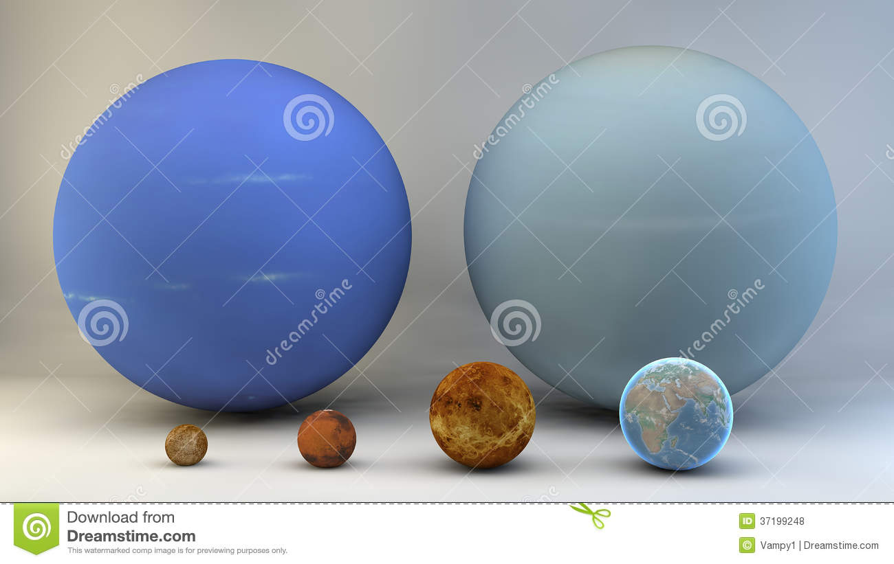 Solar System Planets Sizes Dimensions Royalty Free