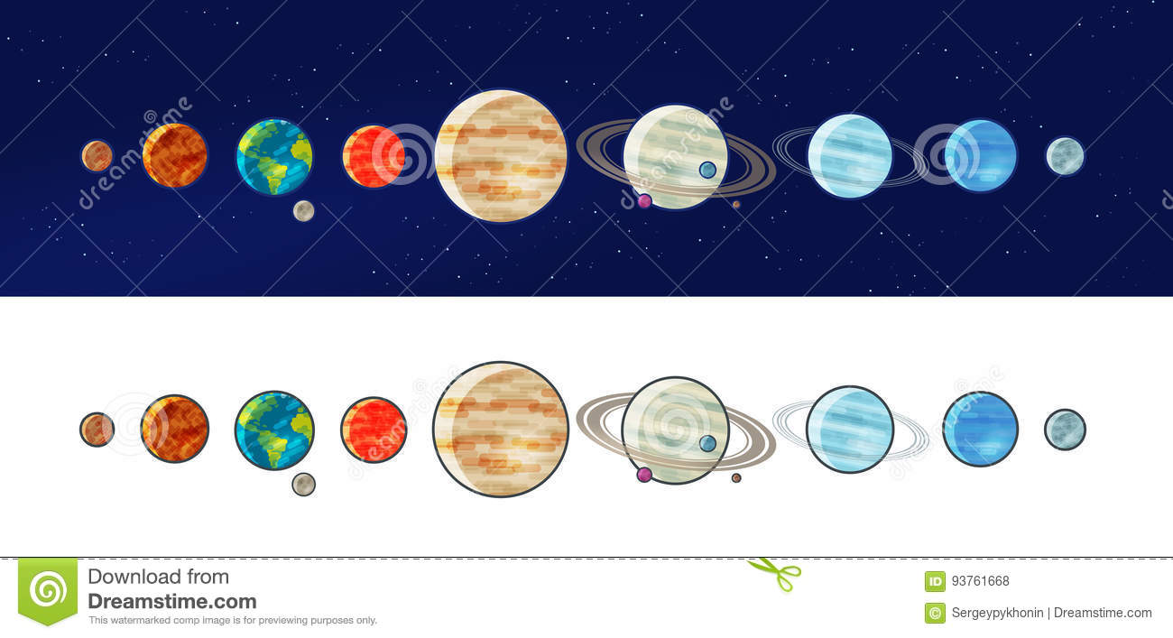 Set planets solar system cartoon style flat icon stock vector image - Biosphere Cartoons Illustrations Amp Vector Stock Images