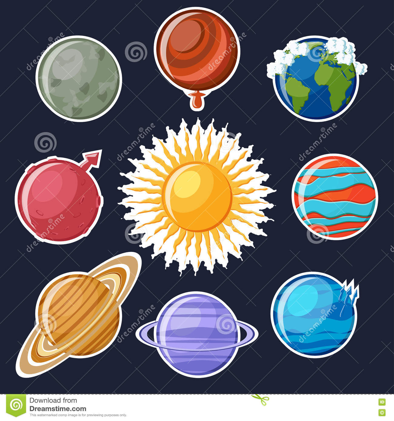 Solar System Or Planets Sticker Set. Stock Vector - Image: 79761248