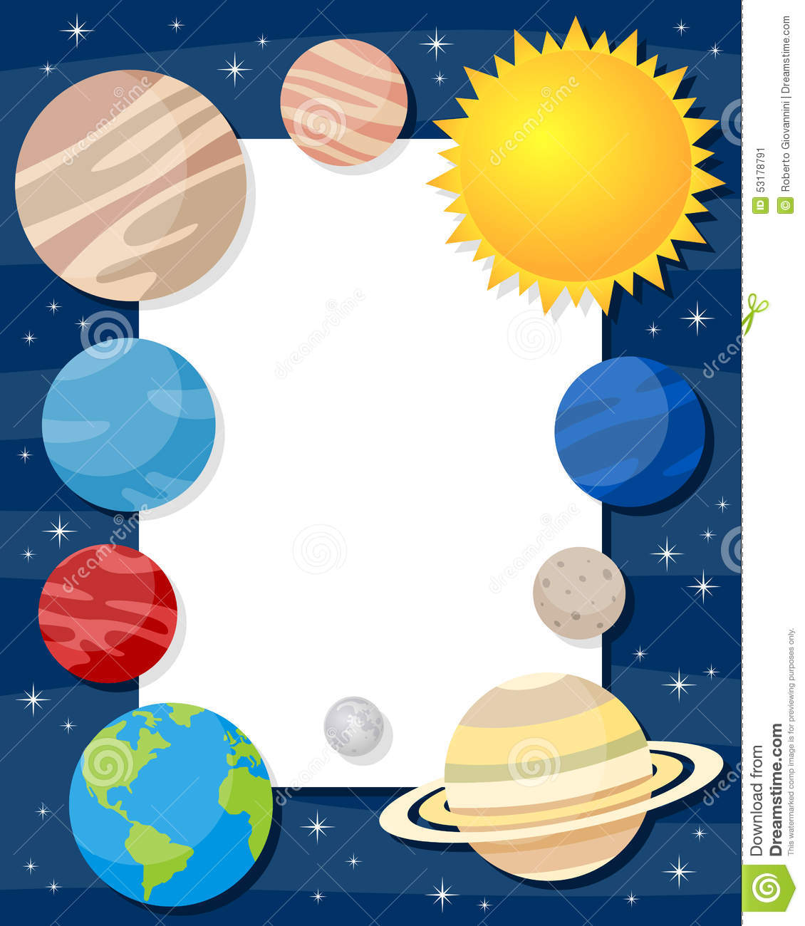 Solar System Planets Vertical Frame Stock Vector ...