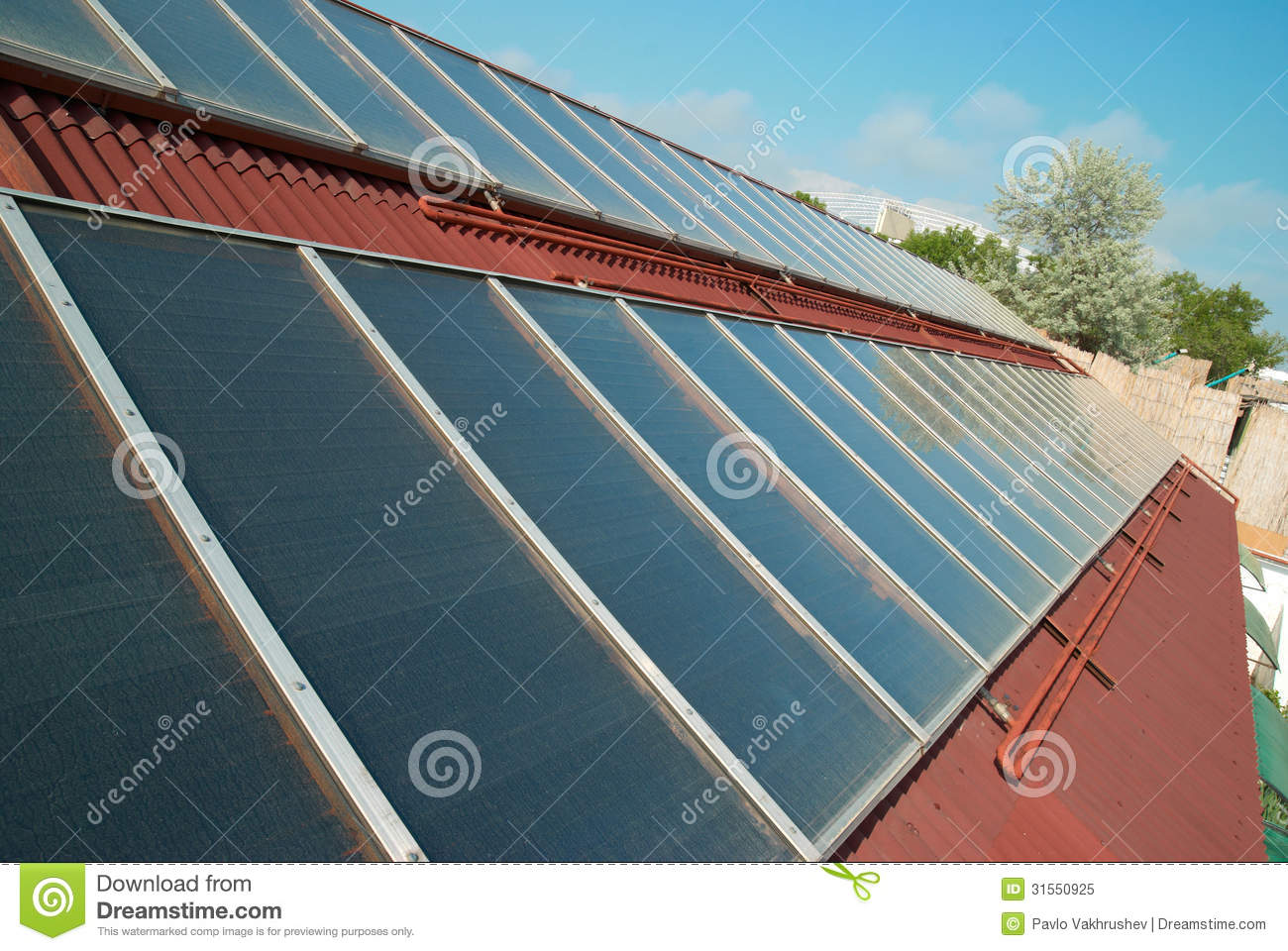 Roof Heating Systems : Solar system on the roof royalty free stock photo image