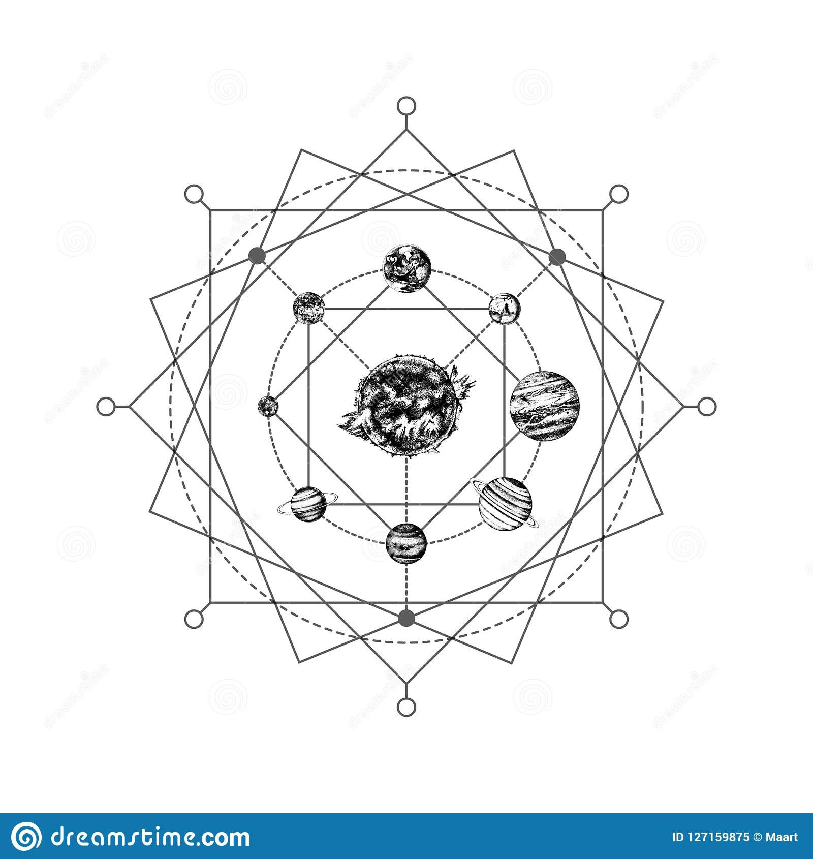 9f306cedd17516 Solar system sacred geometry abstract background with hand drawn planets.  Beautiful tattoo concept. Vector illustration in retro style