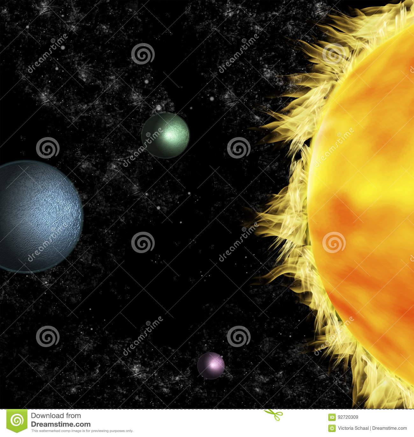 Solar Systems: Three Planets Around Sun Stock Illustration ...