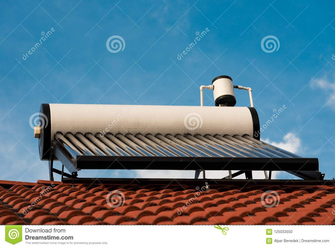 Solar water heater boiler close up shot on residentual house rooftop