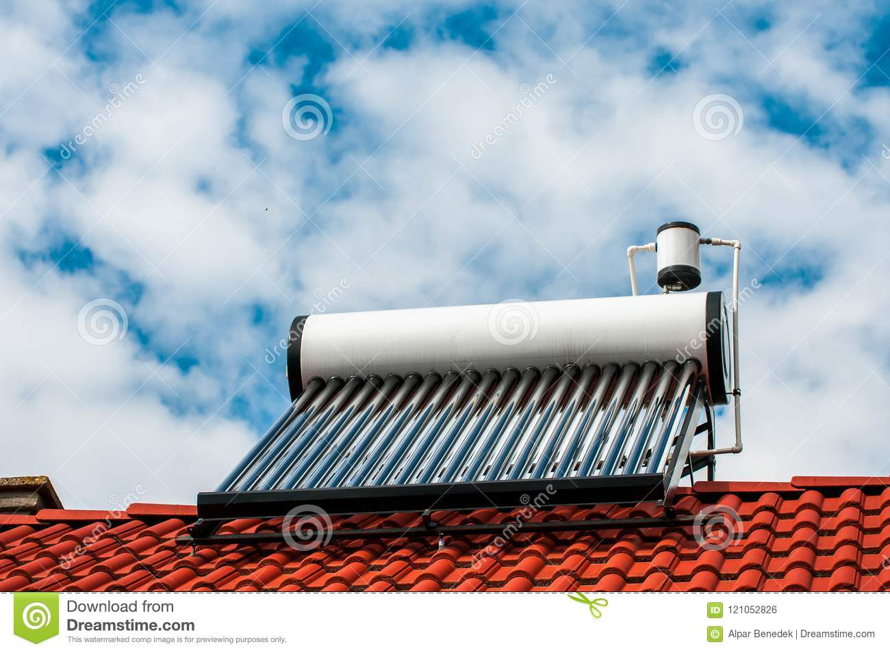 Solar Water Heater Boiler On Residentual House Rooftop Stock Photo ...