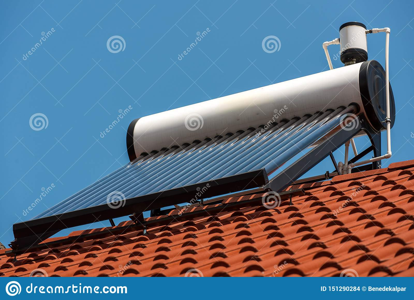 Solar water heater boiler on rooftop close up shot