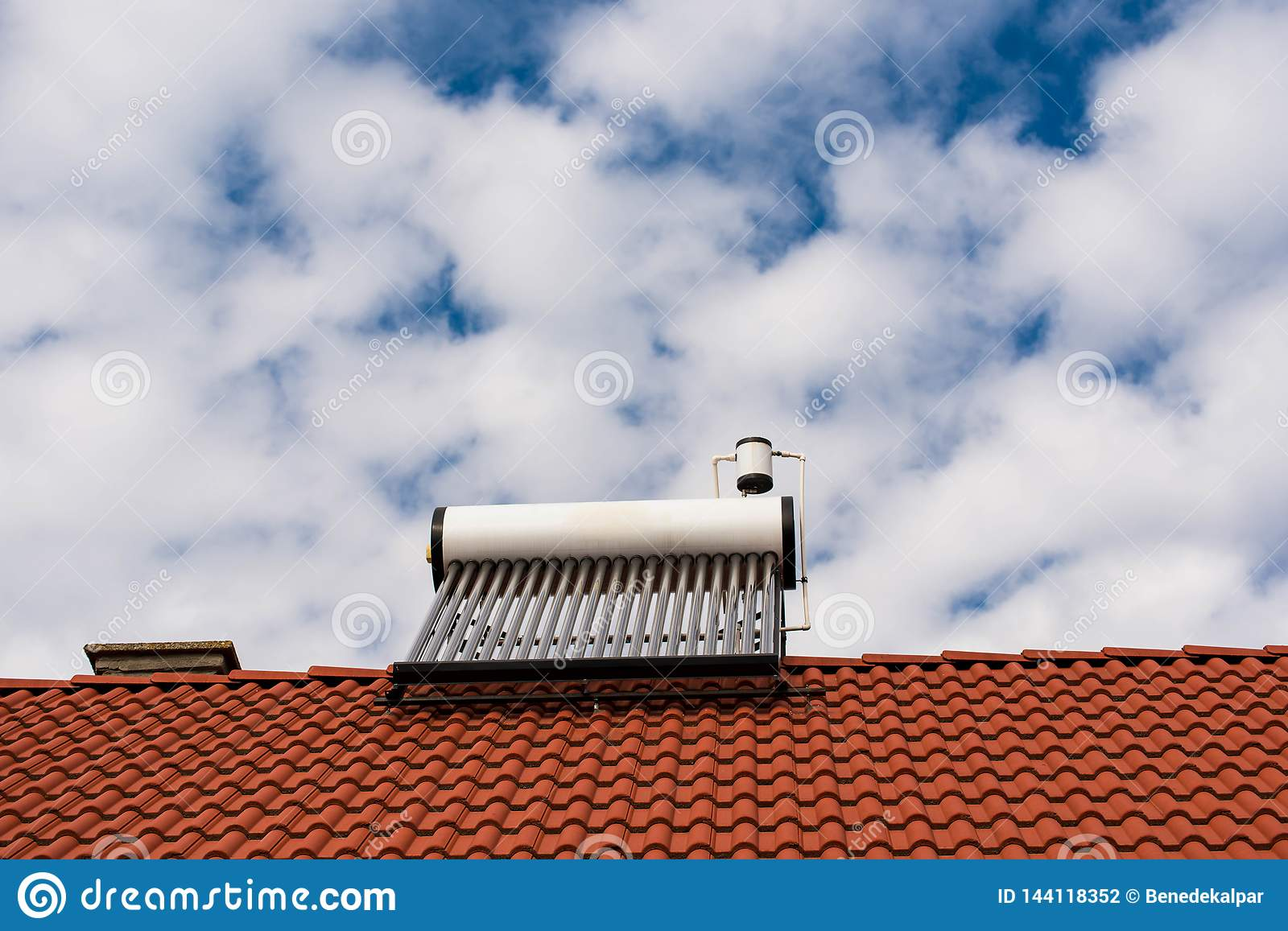 Solar water heater boiler on rooftop