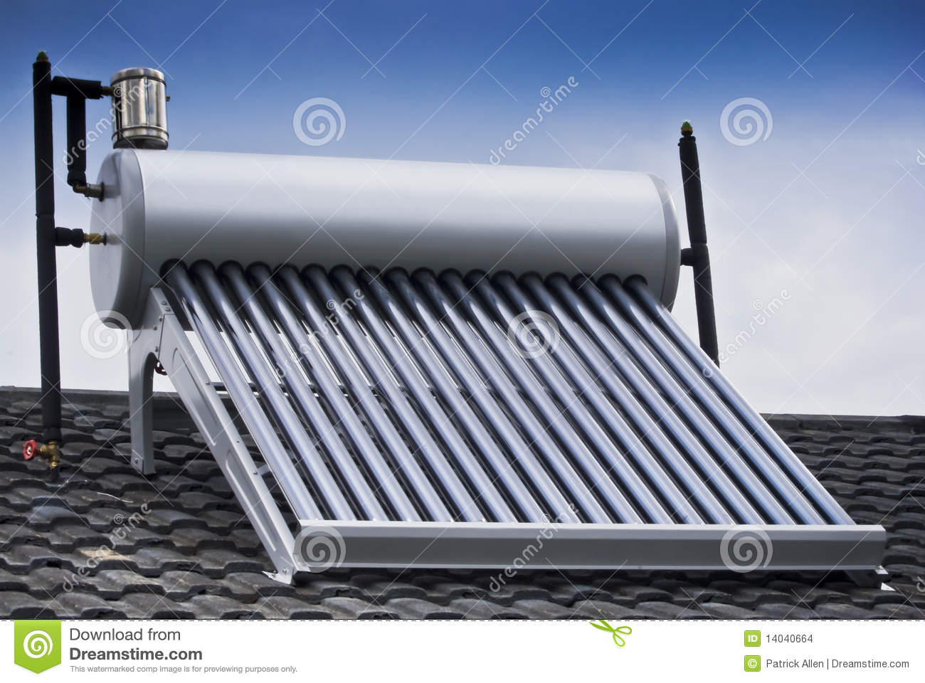 Solar Water Heater Evacuated Glass Tubes Stock Images