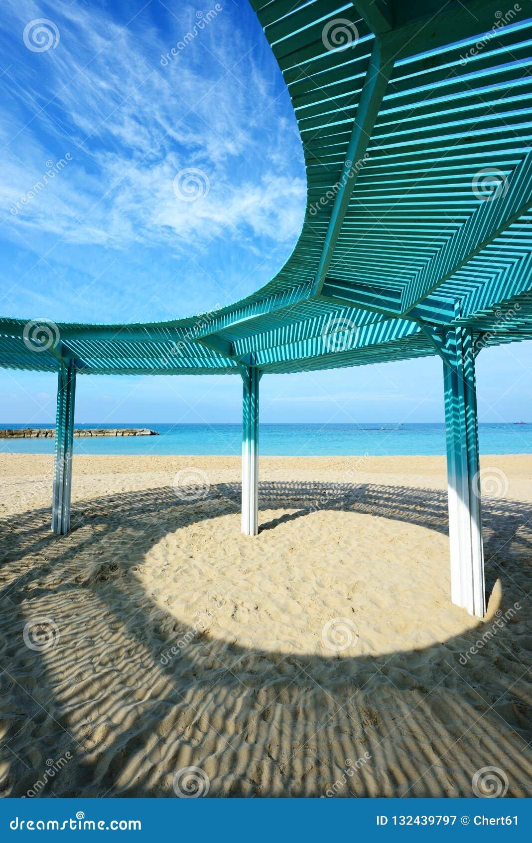 Solar Canopy On The Beach Of Mediterranean Sea Stock Image