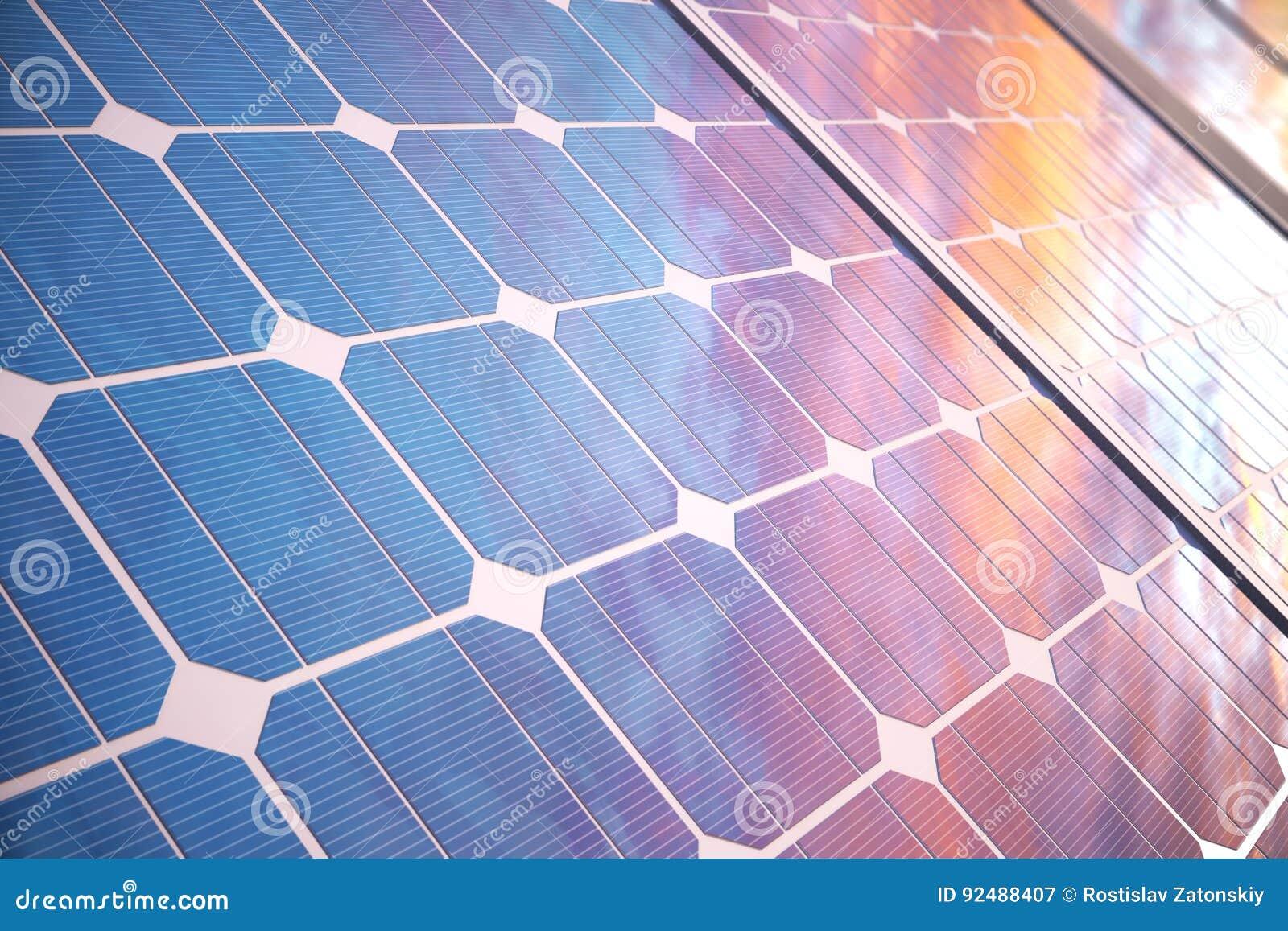 Solarenergie-Generationstechnologie der Illustration 3D Alternative Energie Solarbatteriefeldmodule mit szenischem Sonnenuntergan