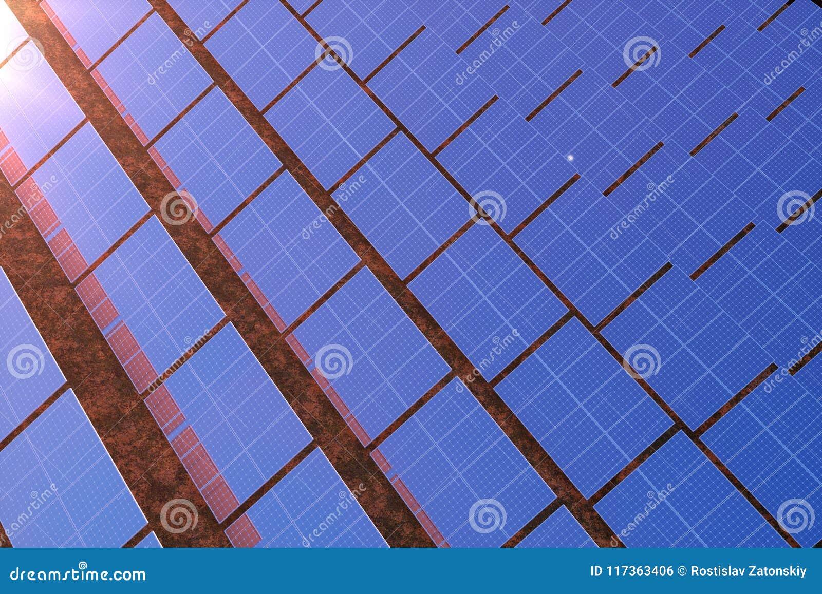 Solarenergie-Generationstechnologie der Wiedergabe 3D Alternative Energie Solarbatteriefeldmodule mit szenischem Sonnenuntergang