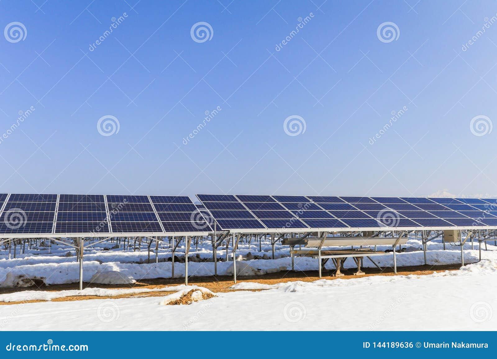 Solarenergiegremien, photo-voltaische Module für Innovation grünen Energie für das Leben mit Hintergrund des blauen Himmels