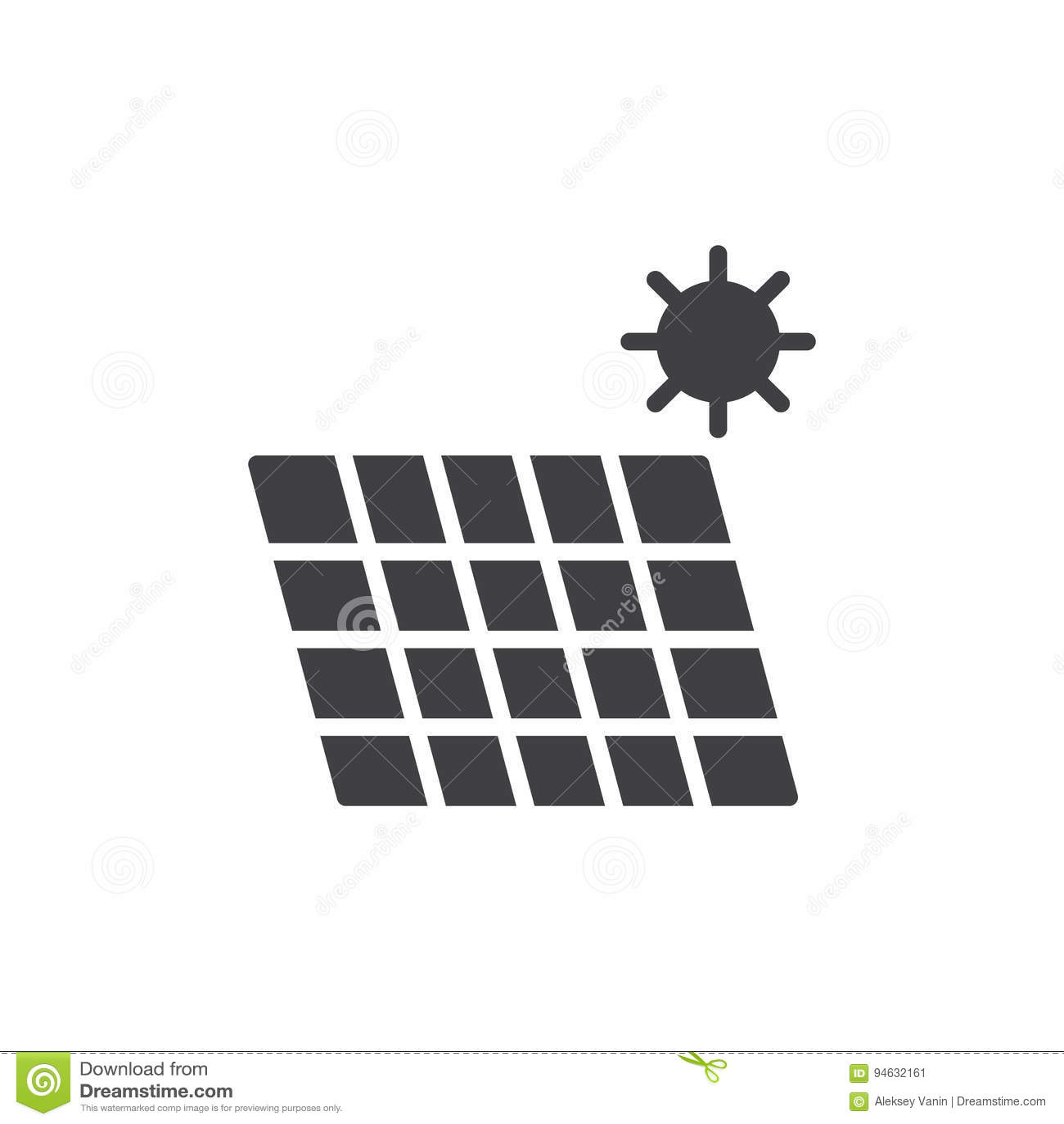 Solarenergieplatten-Ikonenvektor, Gefülltes Flaches Zeichen, Festes ...