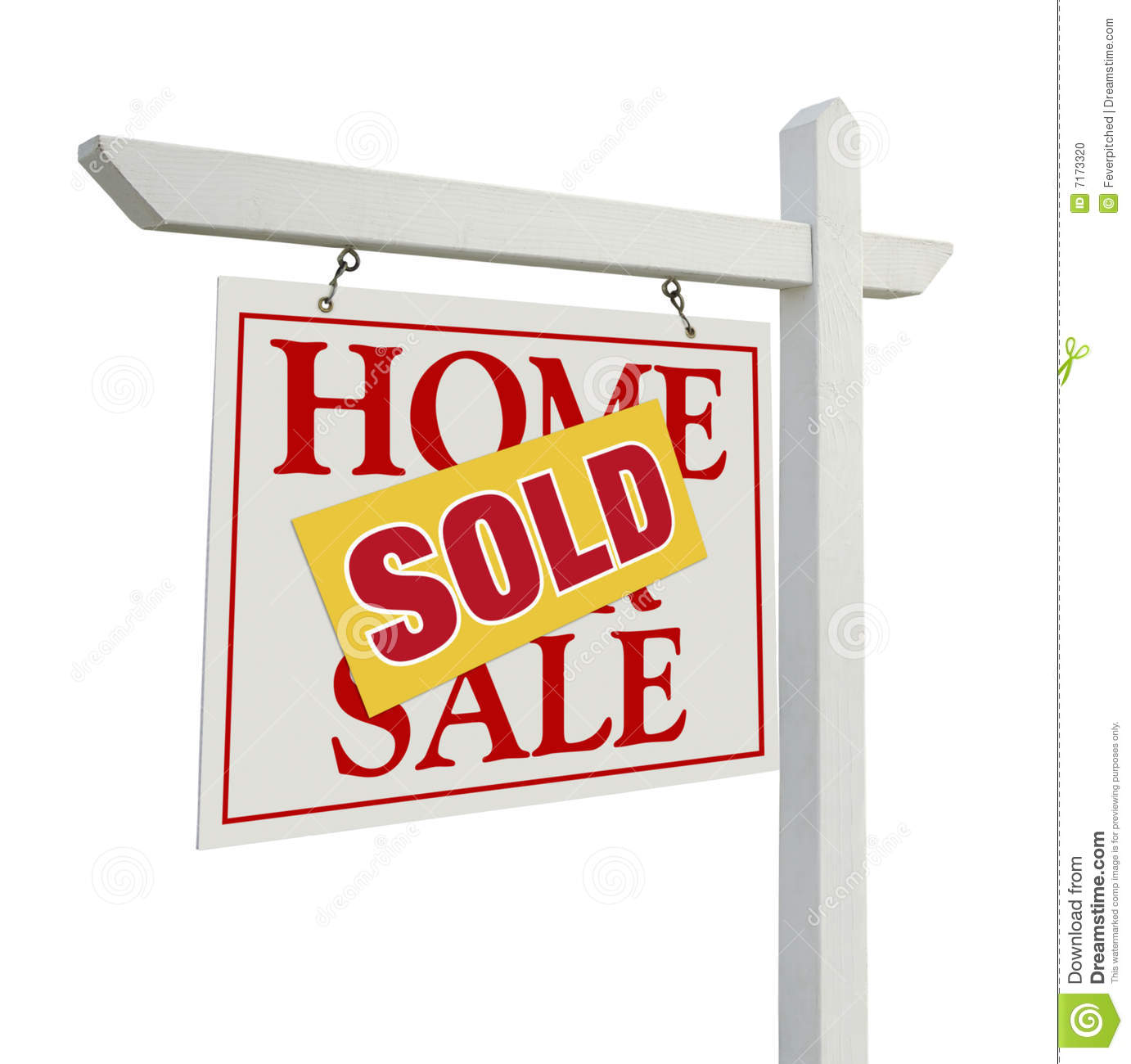 For Sale Sold Sign: Sold Home For Sale Real Estate Sign On White Stock Photo