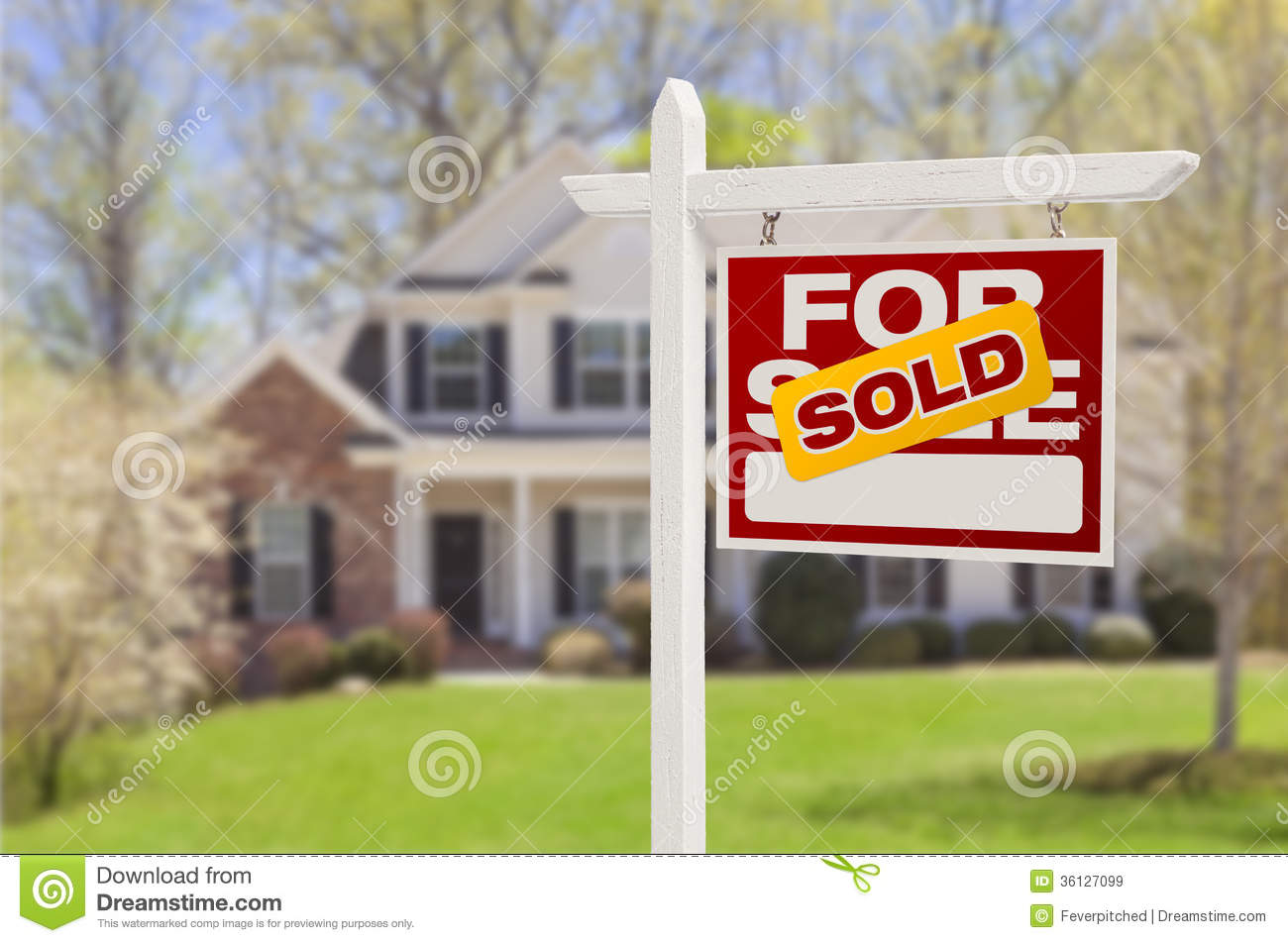 Sold home for sale sign in front of new house stock image for Real time pictures of my house