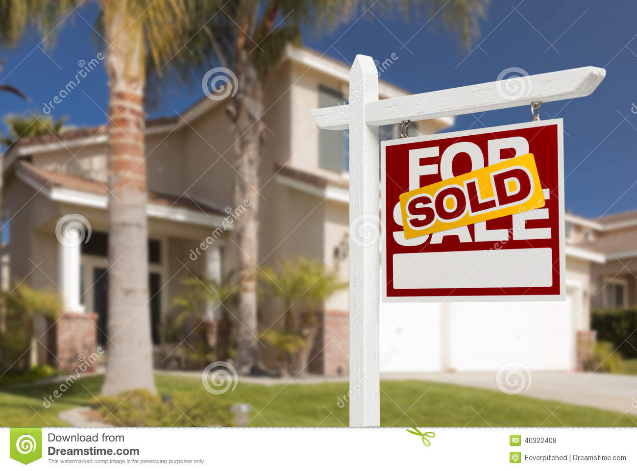 Sold Home For Sale Sign In Front Of New House Stock