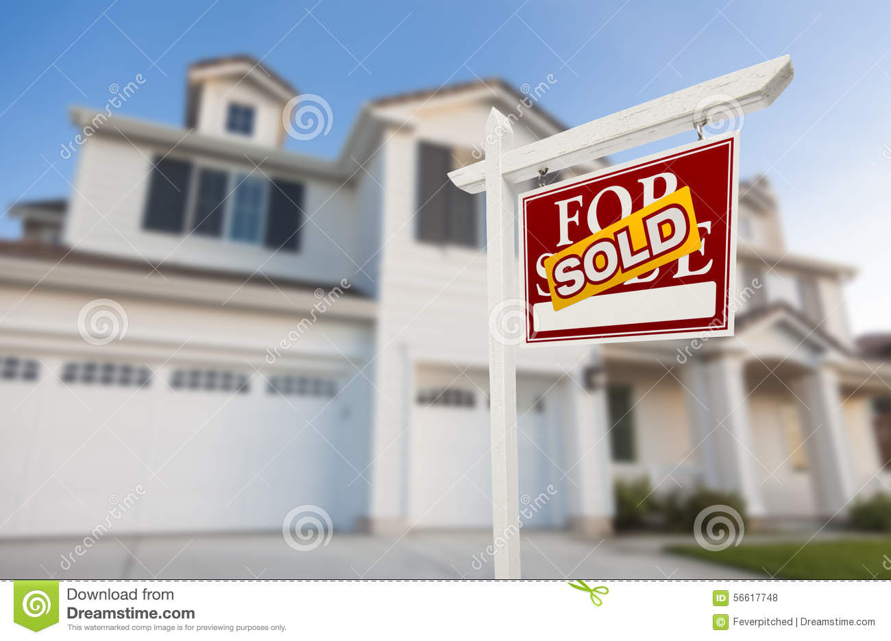 Sold home for sale sign in front of new house stock photo for New home sign