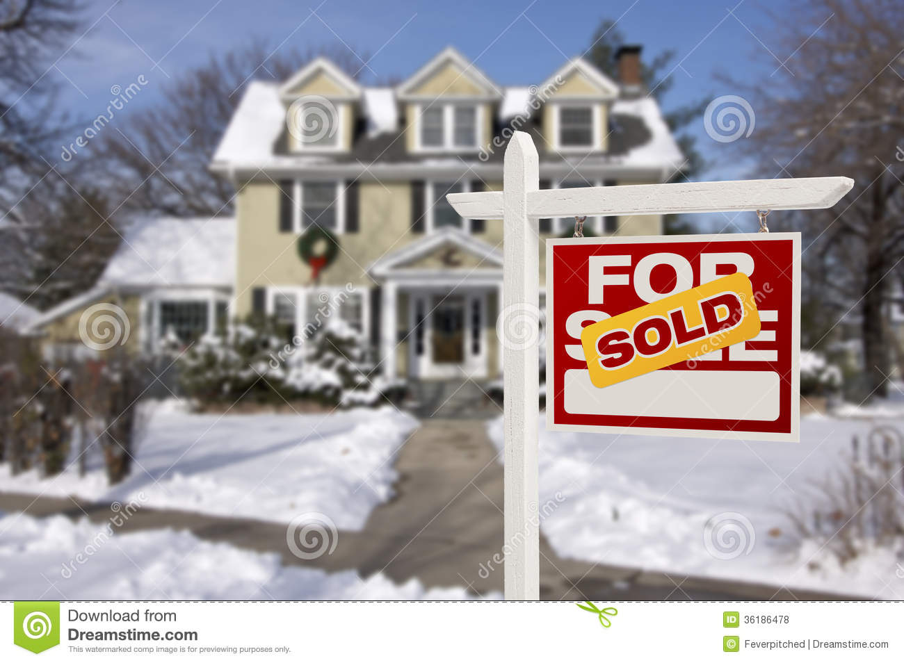 Sold Home For Sale Sign In Front Of New House Royalty Free