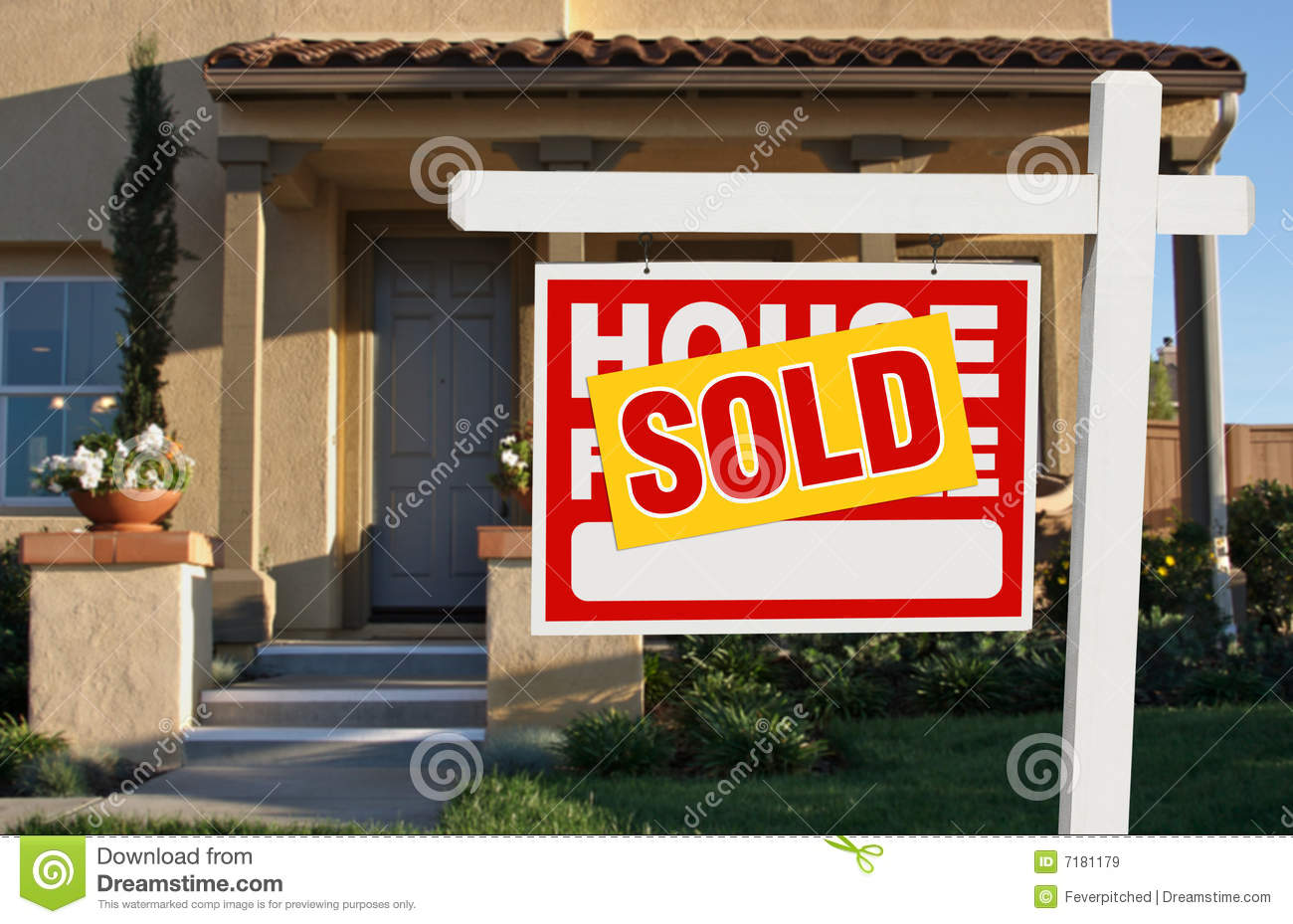 For Sale Sold Sign: Sold Home For Sale Sign And House Stock Image