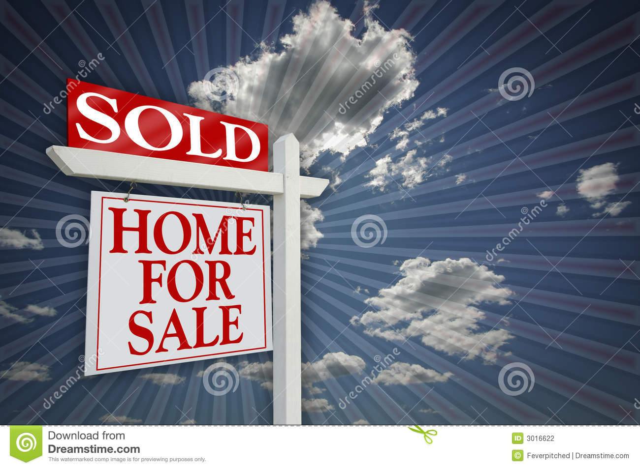For Sale Sold Sign: Blank Real Estate Sign On Clouds & Sky Background Royalty