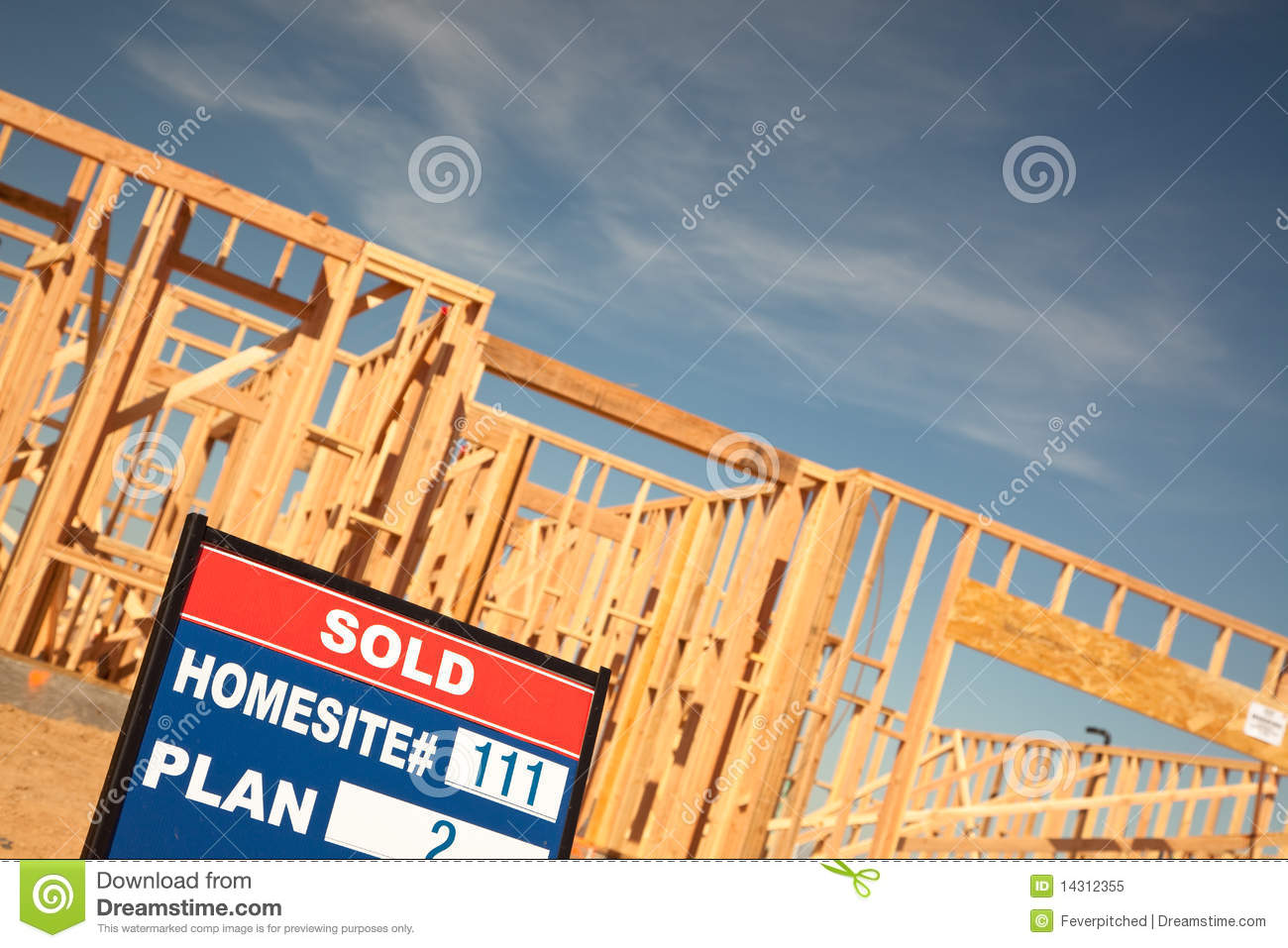 Sold lot sign at new home construction site royalty free for New home structure