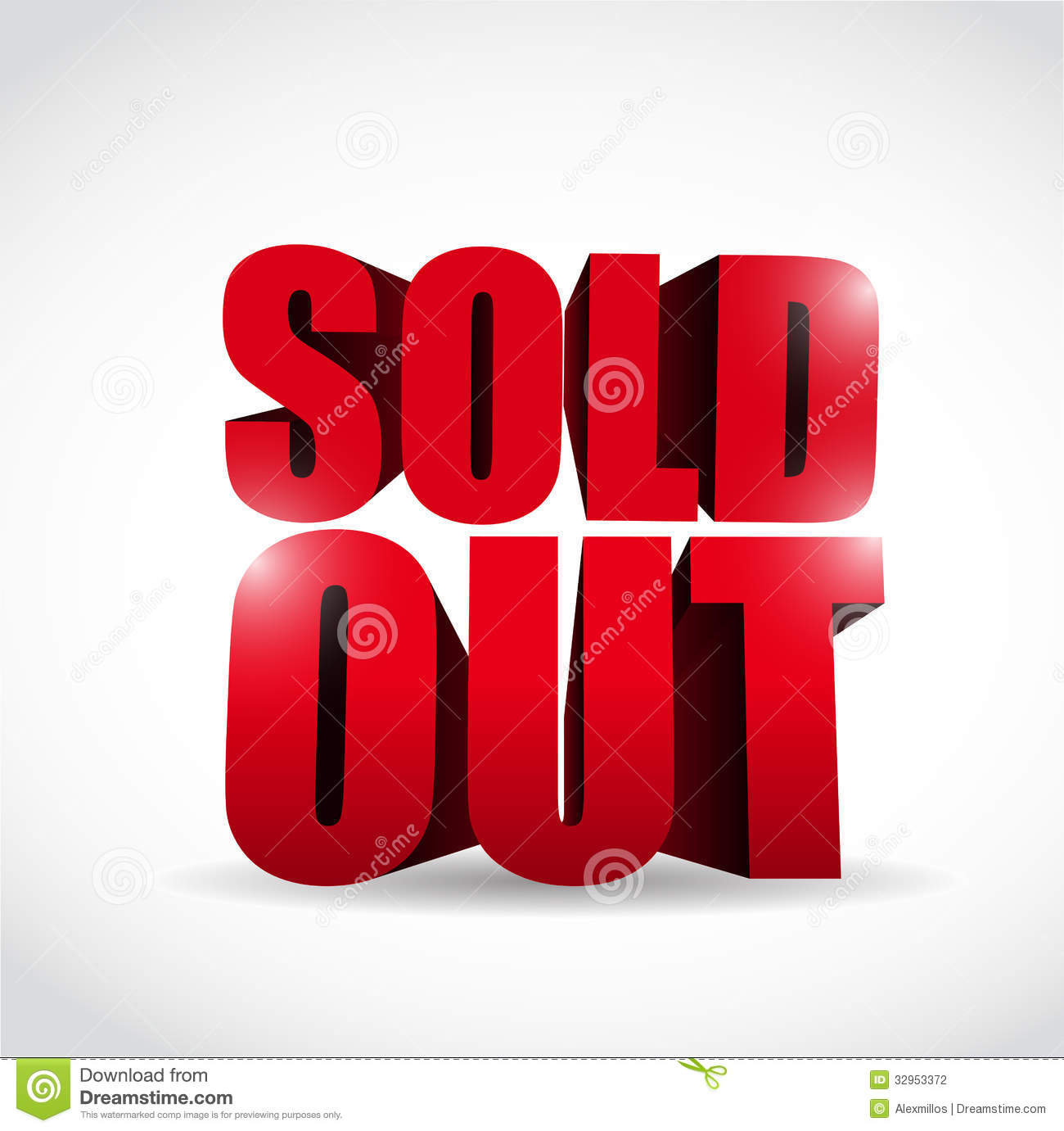Sold Out 3d Text Sign Illustration Design Stock
