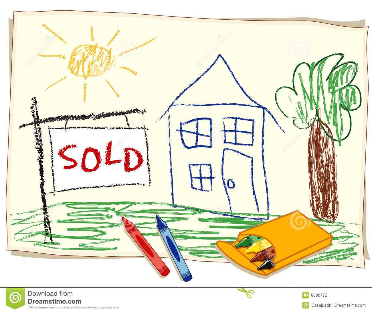 Sold Real Estate Sign Crayon Drawing Stock Photography
