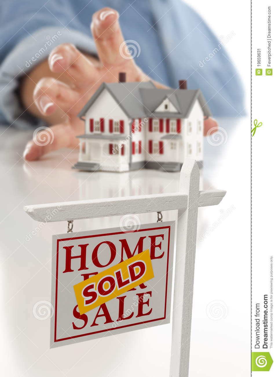 Real Estate Sold Sign In Front Of Residential Home Royalty