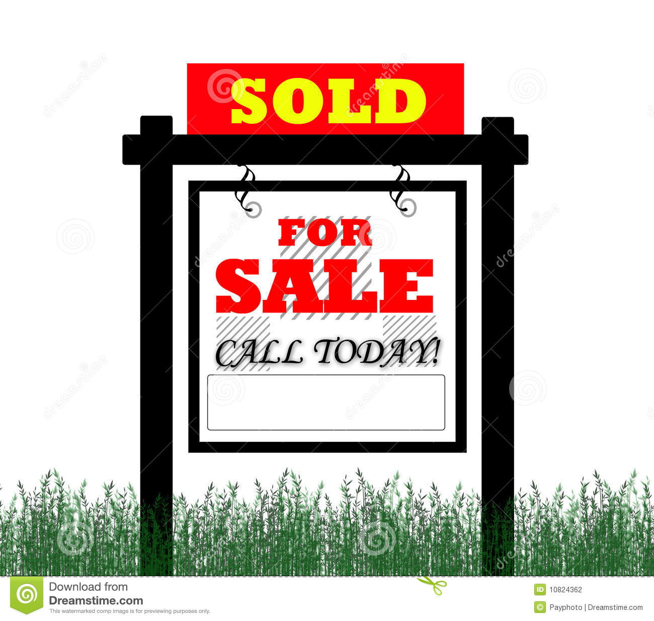 For Sale Sold Sign: Sold For Sale Real Estate Sign Stock Illustration